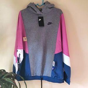 NWT Nike mixed material hood pullover sweatshirt